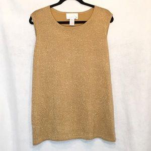 Susan Graver Gold Metallic Sleeveless Knit Top